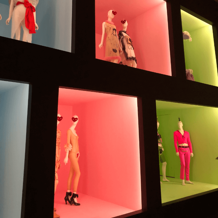 Pink and green squares in a museum exhibit