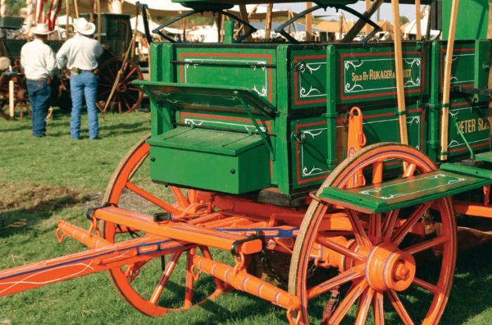Green Chuck Wagon with orange wheels