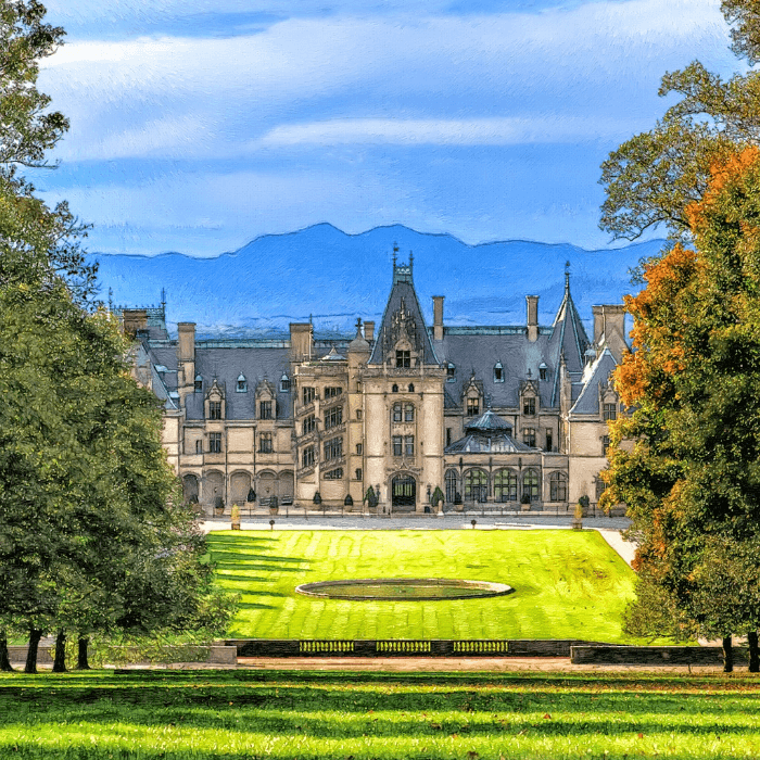 a large stone mansion surrounded by tall trees with mountains in the distance