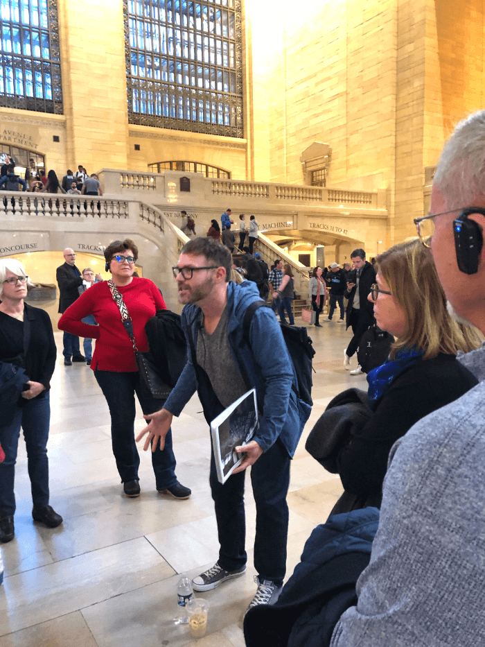 Untapped Cities Tour Guide inside Grand Central Terminal