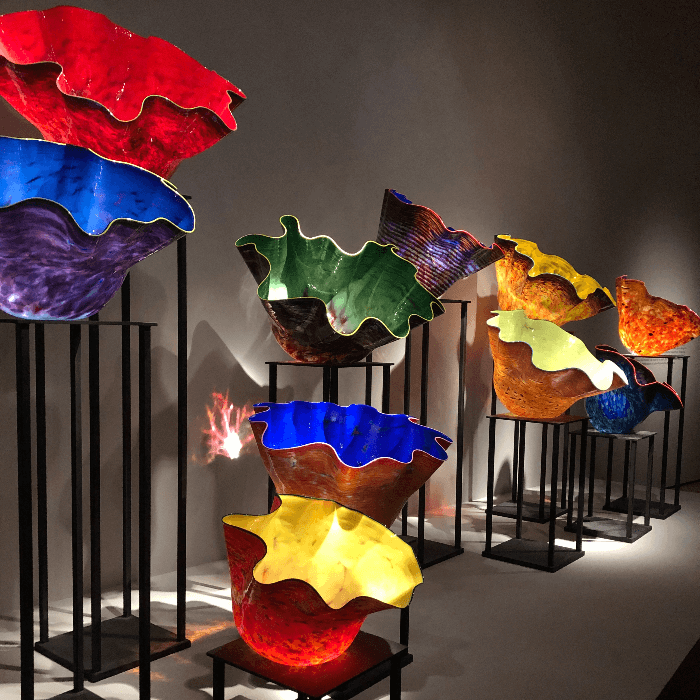 brightly colored Dale Chihuly bowls at the Oklahoma City Museum of Art