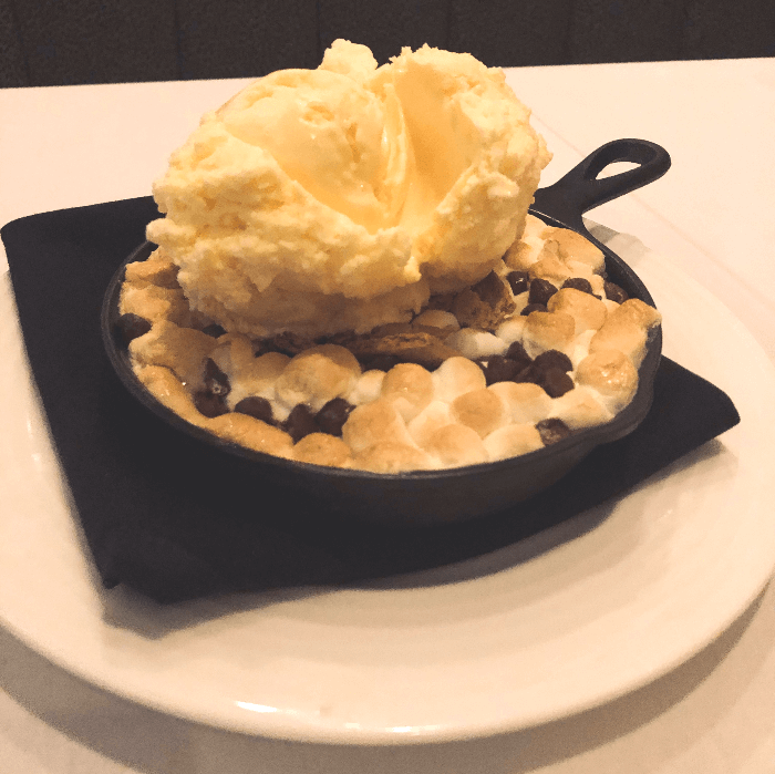 a scoop of vanilla ice cream on marshmallows at Mickey Mantle's Steakhouse
