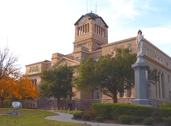 the Navarro County Courthouse at sun set