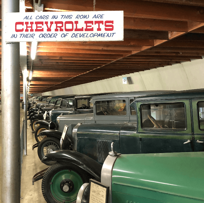 rows of antique cars