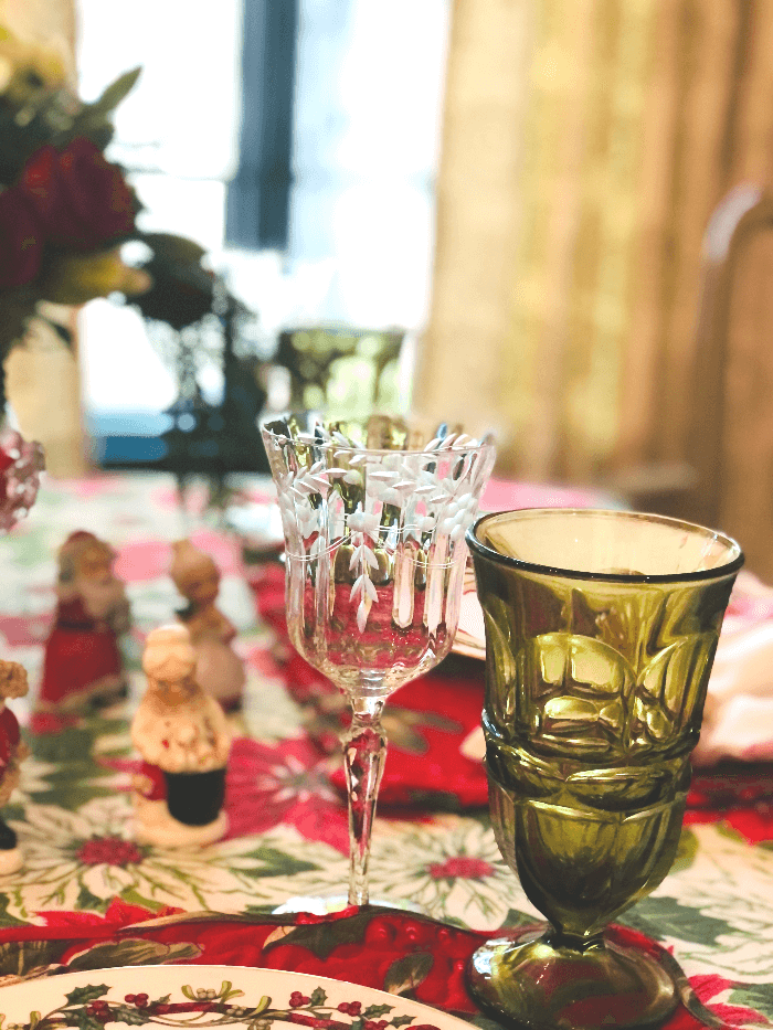vintage glassware on a Christmas Table