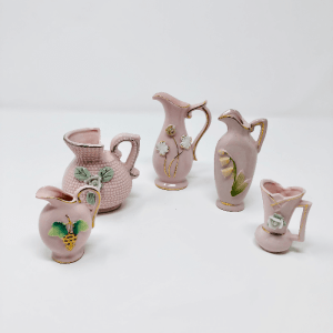 5 small pink porcelain vases