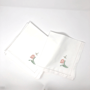 Hemstitch Napkins with Tulips