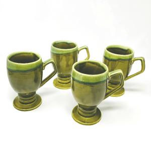 Green Stoneware Footed Mugs