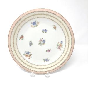 Pink-Rimmed Limoges Dinner Plates