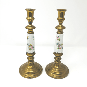 Porcelain & Brass Candlesticks