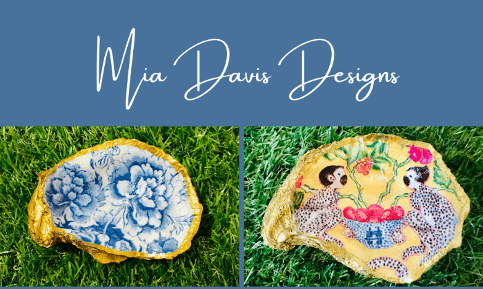 two colorful oyster shell dishes