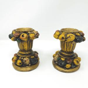 Fruit Basket Chalkware Candle Holders