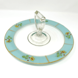 Turquoise Banded Serving Platter Side View
