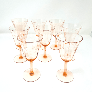 Etched Peach Wine Glasses