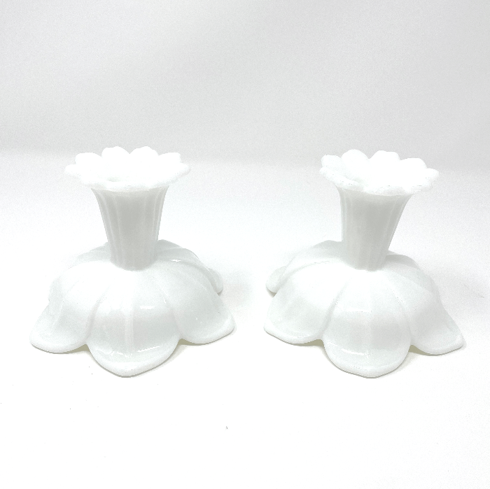 Tulip Milk Glass Candlesticks