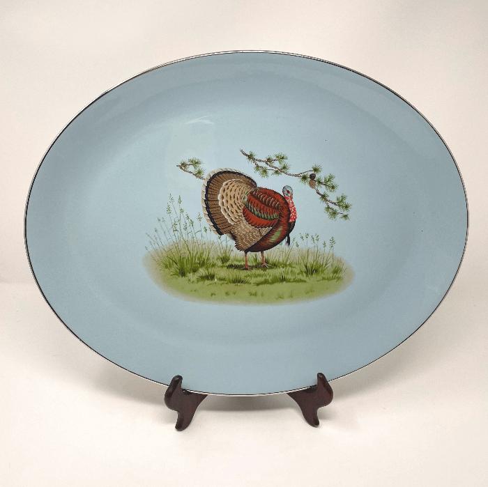 Blue Background Turkey Platter