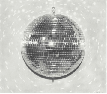 "Emily Copeland - ""Disco Ball"" 2016, charcoal on paper, 30 x 34"""