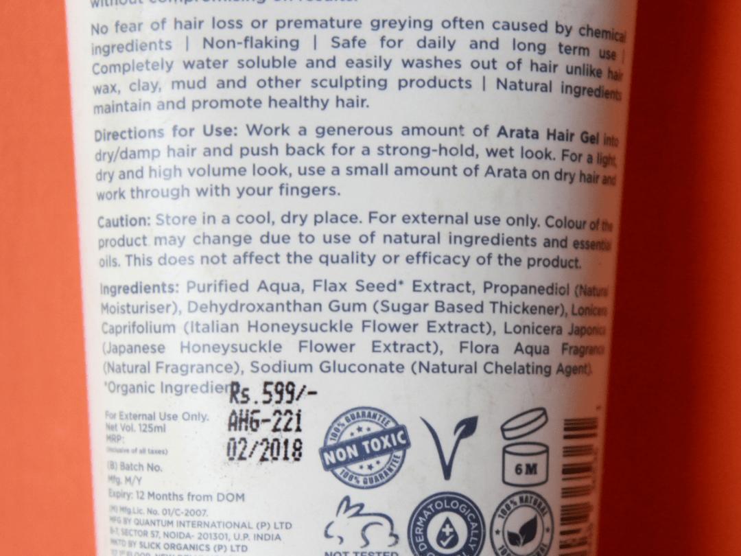 Arata Hair Gel Ingredients