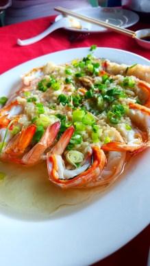 Steamed Prawns with Garlic Sauce, Rainbow Restaurant, Lamma Island