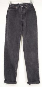 Levi-501-jeans-vintage-9M-black-tapered-button-fly-high-waist-100-cotton-USA-