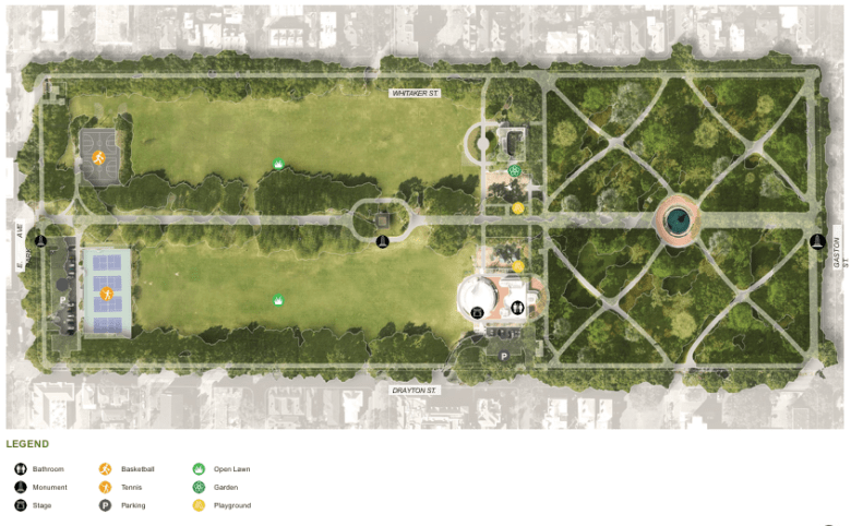 Existing layout of Forsyth Park Sept. 2021