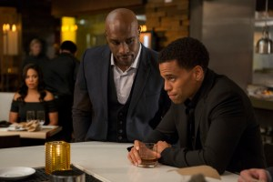 FOR FIRST USE IN USA TODAY - SNEAK PEEK ON JUNE 4, 2015 Sanaa Lathan (background left), Morris Chestnut (center) and Michael Ealy (right) star in the Screen Gems motion picture THE PERFECT GUY. Credit: Dan McFadden, Screen Gems ORG XMIT: Michael Ealy (Finalized); Morris [Via MerlinFTP Drop]