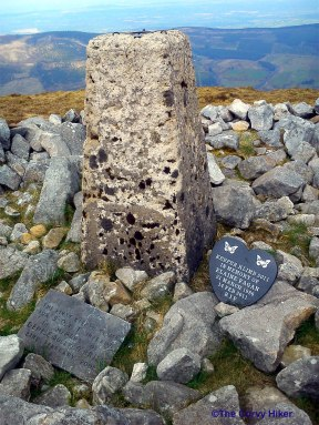 Keeper Hill - Trig point memorial plaques.