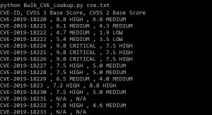 Bulk CVE Lookup Output