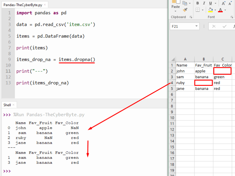 Python Pandas drop row with missing value