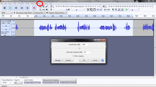 how to increase volume of a sound file in audacity.