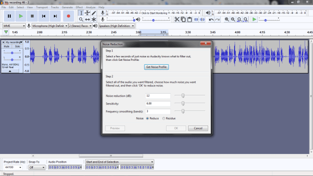 Get Noise Profile in Audacity