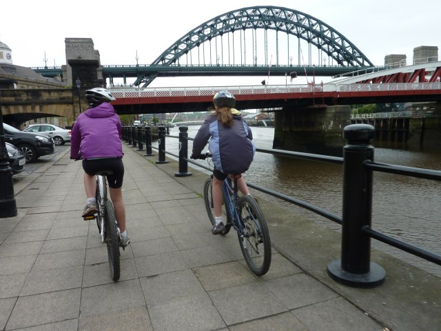 Cycling through Newcastle on the C2C route
