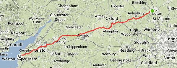 Dunstable to Weston-Super-Mare, direct route