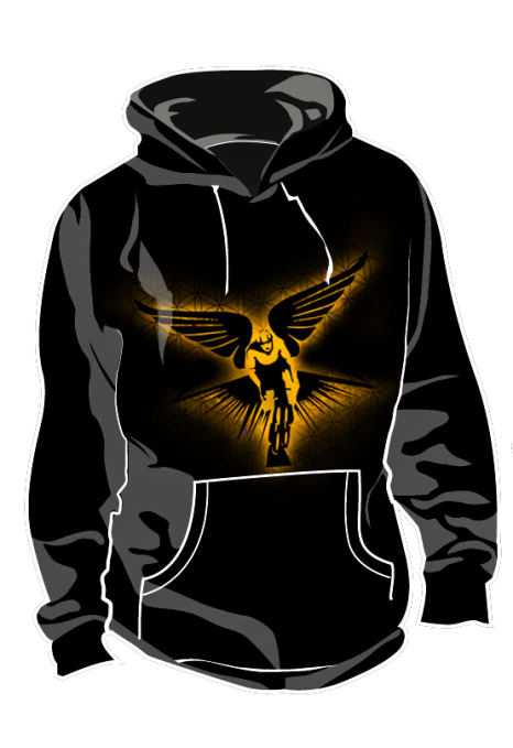 Winged Cyclist Golden Radiance Hoodie Mockup