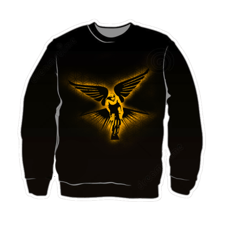 Winged Cyclist Golden Radiance Sweater Mockup