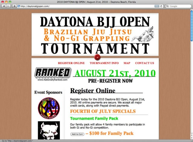 daytonabjjopen.com - Screen Capture of Home Page