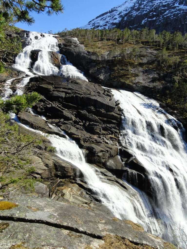 Exploring Norway's Waterfalls Valley. Hike to Waterfalls in Norway