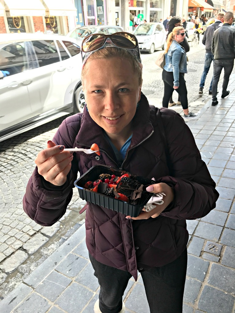 Loaded waffles on our Belgian day trip to Bruges. thedailyadventuresofme.com