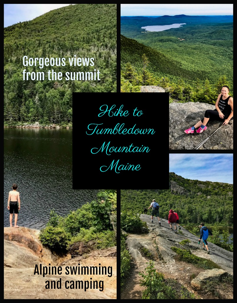 Hike Tumbledown Mountain in Maine's western mountains. Some of the best hiking in Maine with an amazing view and spectacular alpine pond for fishing and swimming.