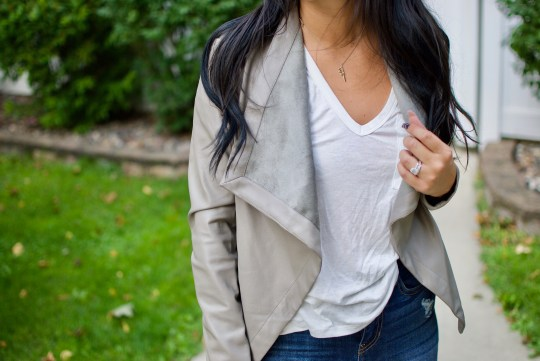 Casual Look with Faux Leather Jacket