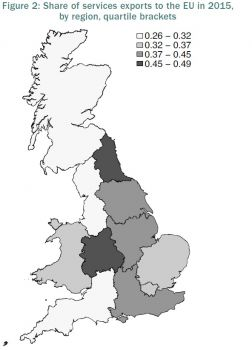 """Leave-voting regions are """"most exposed"""" to Brexit services shock"""