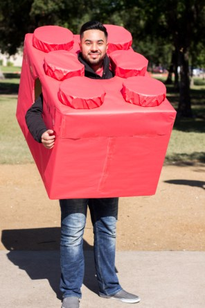Sorin Peña, music composition sophomore, dressed as a LEGO. | Katrina Martinez/The Cougar