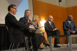"""UH-Victoria President Phil Castille (second from the left) said during the panel session called """"Meanwhile, Back at the Non-Flagships"""" that he preferred system schools, like UH-V, to be called """"regional institutions of higher education."""" 