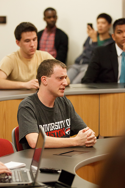 Elliot Kauffman, a CLASS senate candidate for Cougar Pawlitics, was called as a witness for the prosecution in the complaint against Haston. He had originally compiled evidence against Haston, including screenshots and web caches, before The Election Commission took over the complaint. | Justin Tijerina/The Daily Cougar