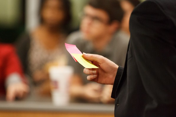 Throughout the trial, Alridge and his three associate elections commissioners would pass sticky notes to Ghably to provide hints and advice. | Justin Tijerina/The Daily Cougar