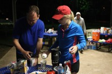 Rick Miller and Caitlin O'Brien prepare the coffee for night. They, with most of the supporters that came out stayed up for the full 20 hours. | Nam-My Le/The Daily Cougar
