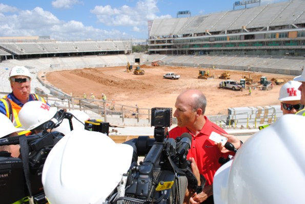 Head football coach Tony Levine addressed the local media at the site of the new stadium.