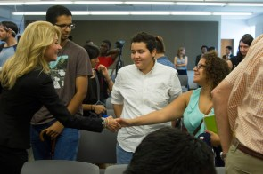 Wendy Davis greets students after her speech. | Steven Chambers/The Cougar
