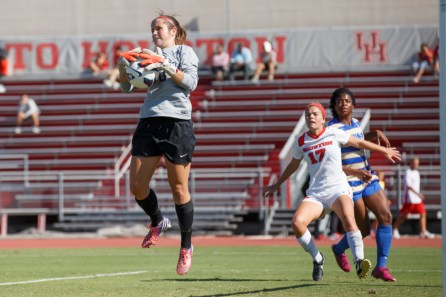 Brown currently leads the American Athletic Conference with a total of 80 saves after 15 games. The junior goalkeeper earned a career-best nine saves in Sunday's 2-0 loss to Tulsa. | Justin Tijerina/The Cougar