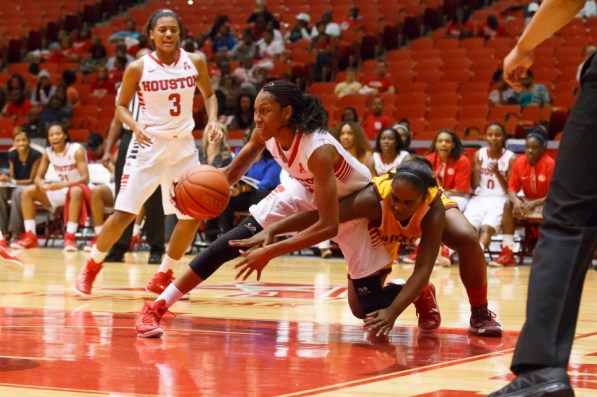 Junior forward Marche' Amerson continued to lead the Cougars as a returning starter, scoring 10 points. | Justin Tijerina/The Cougar